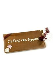 Handgeschreven Chocoladereep 'Jij bent een topper!'