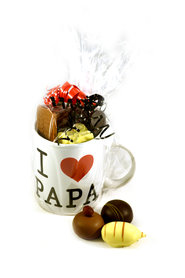 Koffiemok 'I hartje Papa' gevuld met Chocolade