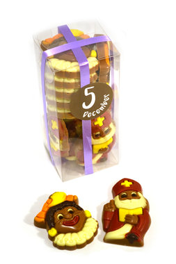 Chocolade Sintjes en Pietjes ingekleurd in Klikdoos