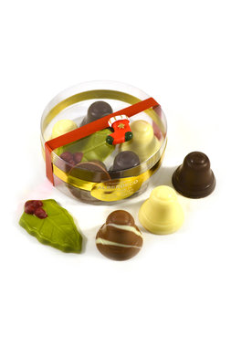 Chocolade Kerstklokjes met hulstblaadje in Rondo verpakking