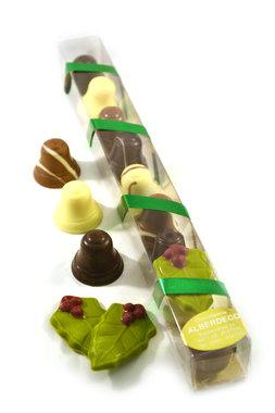 Chocolade Kerstklokjes met hulstblaadje in Staaf verpakking