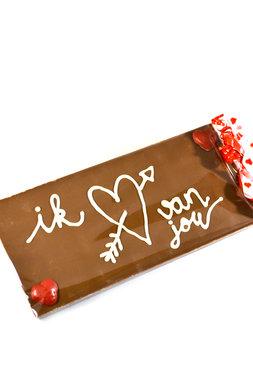 Handgeschreven Chocoladereep 'ik hartje van jou'