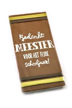 Handgeschreven Chocoladereep 'Bedankt Meester'