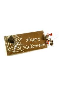Handgeschreven Chocoladereep 'Happy Halloween' en Spinnenweb