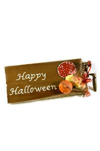Handgeschreven Chocoladereep 'Happy Halloween' met Herfst Chocolade